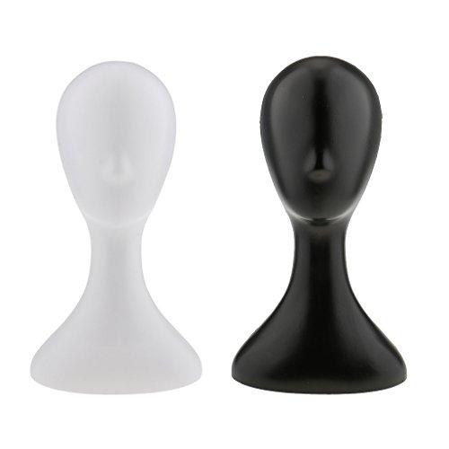 Gazechimp 2pcs Modelo de Cabeza de Maniquí Femenino Exhibición de Peluca Gafas Sombreros Negro / Blanco