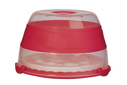 Progressive Prepworks by Zusammenklappbare Cupcake- und Kuchenträger für 24 Cupcakes, 2-lagig, einfach zu transportieren von Muffins, Plätzchen oder Dessert zu Partys, Rot