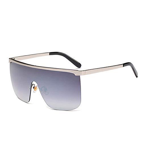 LXXSSRA Sonnenbrille New Italy Markendesigner Metall Halbrahmen Spiegel Sonnenbrille Frauen Cover One Piece Sonnenbrille Unisex Oversized Goggle Shades Männer D953 Silber SIL Grau