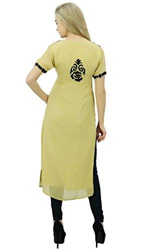 Bimba concepteur georgette féminin brodé Kurtis tunique haut blouse droite indien Beige