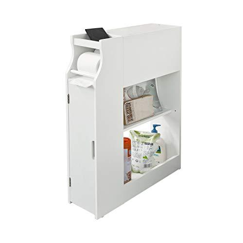 SoBuy FRG52-W Meuble de rangement Armoire WC pour papier toilette, Porte brosse WC avec porte-revues -Blanc