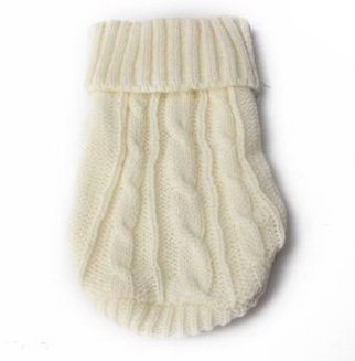 Doggie Style Store White Miniature Knitted Pet Dog Puppy Jumper Sweater - 2 Sizes