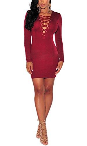 SunIfSnow -  Abito  - fasciante - Basic - Maniche lunghe  - Donna Red Large