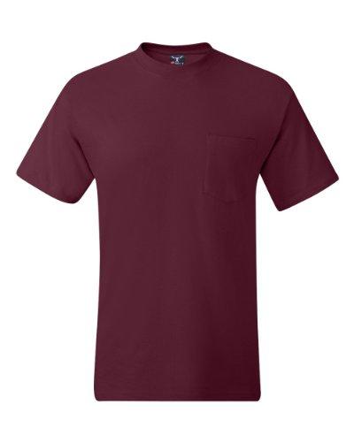6.1 oz., Hanes Beefy T-Shirt, ® mit Tasche Rot (Braun)
