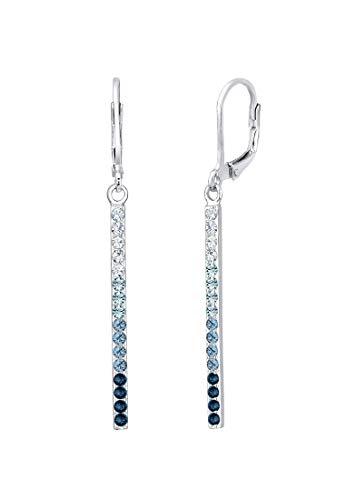 Elli Damen Echtschmuck Ohrringe Geo Stab Sparkling mit Swarovski Kristalle in 925 Sterling Silber