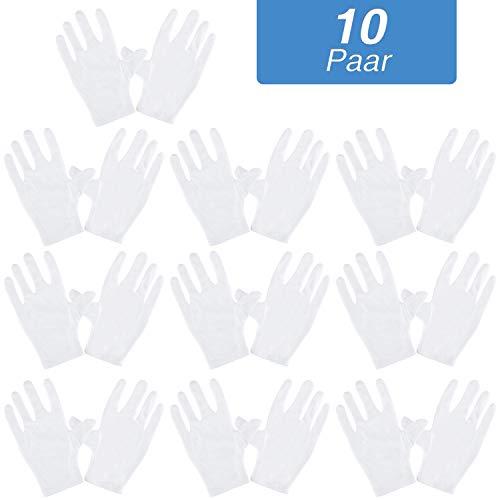 Rovtop 10 Paar Weiße Handschuhe Baumwolle, Größe XL, Stoff Handschuhe Weiss, Care Baumwollhandschuhe, Bequem und Atmungsaktiv, für Hautpflege, Schmuck Untersuchen, Tägliche Arbeit usw