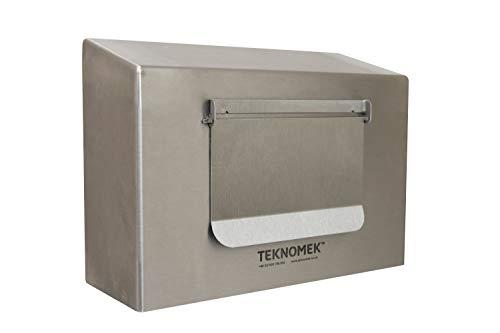 Robusto dispensador de caja de guantes montado en la pared con solapa, acero inoxidable | Top inclinado | Sin piezas de plástico - 258 x 96 x 190 mm