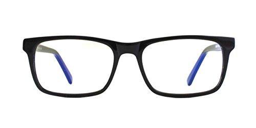 Pixel Eyewear Designer-Computerbrille, UV-Schutz, Blendschutz, kompletter Rand, Acetat-Rahmen, Schwarz - Buteo-Stil