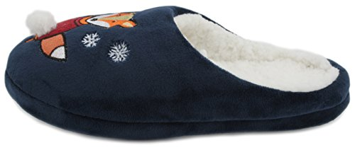 SlumberzzZ donna Plush festive Fun novità pantofole Navy blue
