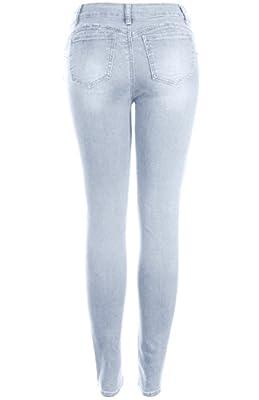 2LUV Women's Butt Lift Super Stretchy Cuffed Hem Distressed Skinny Jeans