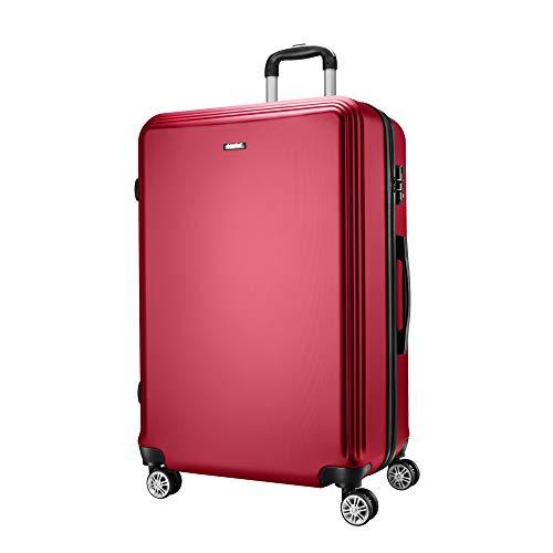 Amasava Valise ABS Ultra Légère à 4 Roues Bagage Rigide Résistante pour Voyages Taille Moyenne 75cm,Vin Rouge