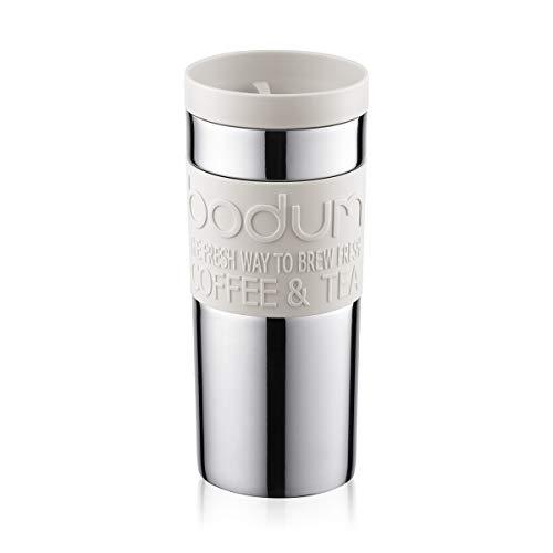 Bodum 11093-913 Travel mug, 0.35 L, Reisebecher Edelstahl 8.5 x 8.5 x 18 cm, weiß