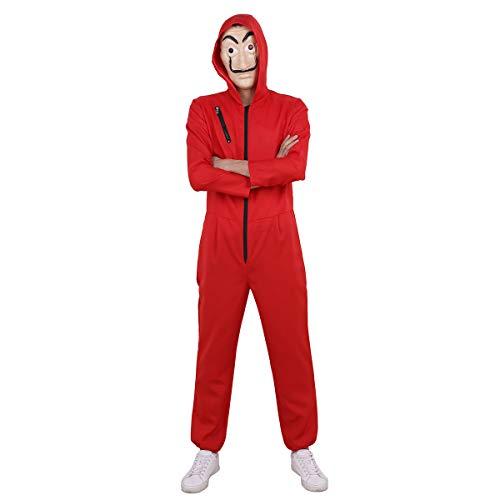 dPois Unisex Damen&Herren Jumpsuit Overall + Maske Haus des Geldes Bankräuber Kostüm Set Kostüm Für Halloween Weihnachten Cosplay Maskenkostüm S-XXL (M(Brust 108cm), Rot)