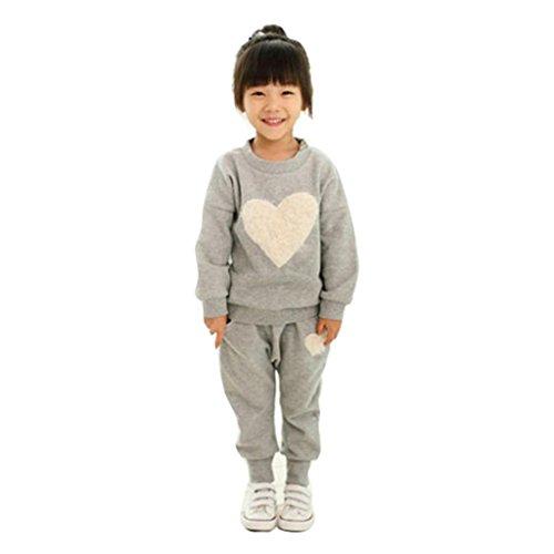 Baby Outfits für 3-7 Jahre, Janly® Kinder Kleidung Langarm Herz Print Trainingsanzug + Pluderhosen Herbst Freizeitkleidung Set (Alter: 2-3 Jahre alt, Grau)