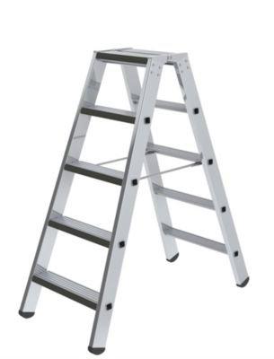 Stufen-Stehleiter, beidseitig - Ausführung gepolstert - 2 x 5 Stufen - Alu-Leiter Alu-Stufenstehleiter Bockleiter Leiter Stehleiter Stufenleiter