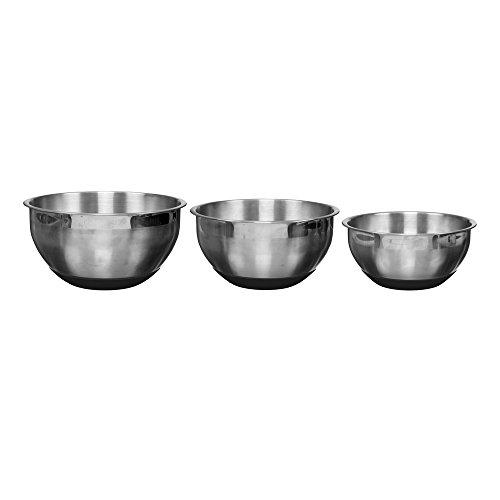 Easy Make KP5270 Bol pâtissier INOX Noir/Argent 22 x 20 x 18 cm 3 pièces Couleur Aléatoire