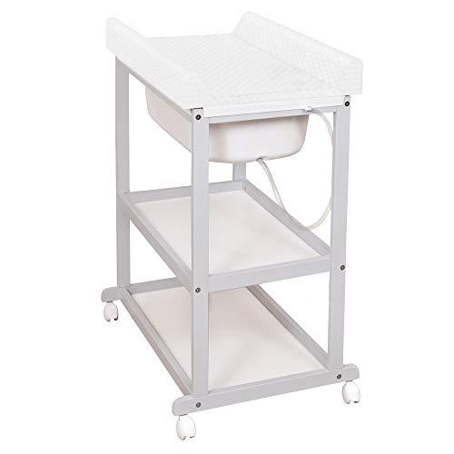 Wickeltisch mit Badewanne mit Oekotest, Holz Bade-Wickelkombination mit Bezug, Wickelauflage Set für Babys - Caro Weiß