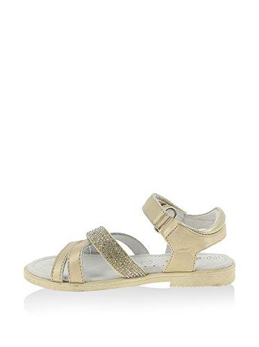 Sandale en cuir pour fille bande croisées et brillantes - Gold