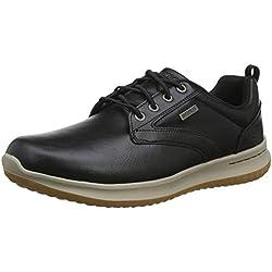 Skechers DELSON-Antigo 65693, Zapatos de Cordones Oxford para Hombre, Negro Black, 43 EU