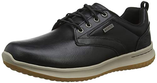 Skechers Delson-Antigo, Zapatos de Cordones Oxford para Hombre, Negro Black, 41.5 EU