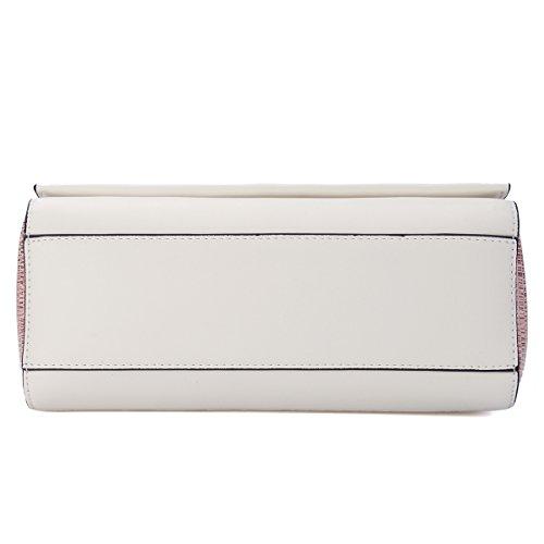 Kadell Sacchetto di spalla di cuoio delle donne Cartella piccola falda Crossbody Borsa Grigio Nero Bianco rosa