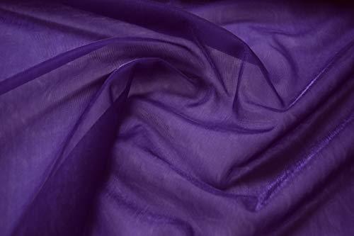 Fabrics-City LILA Stretch FEIN Netz Stoff Glitzer Netzstoff LOCHFILET Stoffe, 5083(Lila)