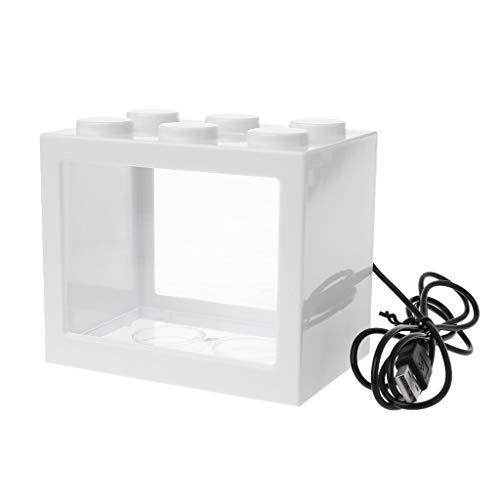 LANDUM Aquarium Kampf Zylinder USB Mini Aquarium Mit Lampe Licht - Weiß