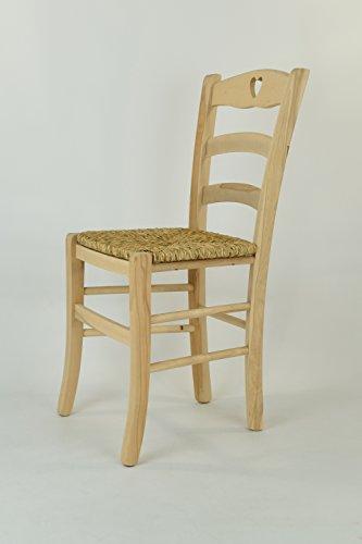 Set 2 sedie cucina e sala da pranzo dallo stile classico, con robusta struttura in legno di faggio levigato, non trattato, 100% naturale e con seduta in paglia. set cuore 38 by tommychairs, sedie di design.