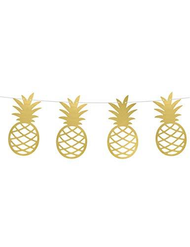 PartyDeco Hawaii Hawaiian Tropical Theme Party Gold Pineapple Garland