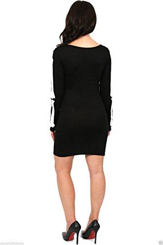 Womens Halloween scheletro teschio stampa elasticizzato BODYCON Donna Abito Plus Size Black