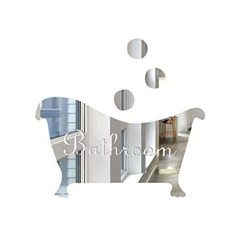 Vovotrade Stickers Autocollants réfléchissants Miroir 3D Bricolage Bar décoration Miroir 3D drôle de Porte Signe d'entrée Mur réfléchissants Miroir 3D Stickers muraux (Silver)