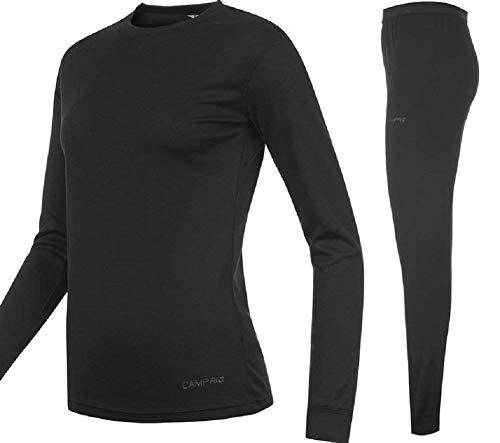 Campri - set con maglia e pantaloni termici sportivi, unisex bambino, colore: nero
