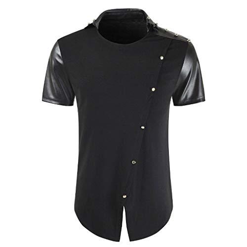 Xmiral t Shirt Uomo Bottone Cucitura Risvolto Manica Corta T-Shirt Gentiluomo Tops qualità Prezzo Rapporto qualità buona qualità Ottima qualità Ottimo Rapporto XXL Nero