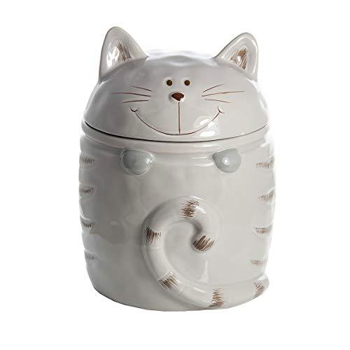 Katze Keksdose Vorratsdose Keramik Cookie Jar Zwecke Katzenleckerli Aufbewahrungsbox Beige, Geschenk für Katzenliebhaber Cat Lover Gift -