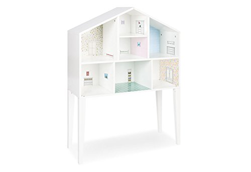 Pinolino Puppenhaus Anni, aus Holz, Füße abnehmbar und als Wandregal nutzbar, inkl. Tapeten und Möbelstickern, für Kinder von 3 - 12 Jahren, weiß (Weiße Tapete Abnehmbare)