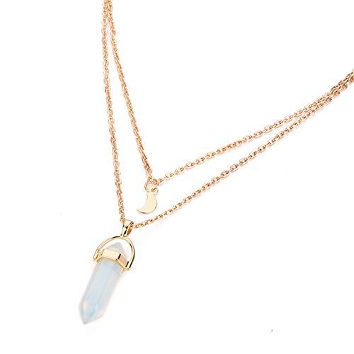 Europäische und amerikanische Mode Doppelmond Mond Halbmond Kugel Anhänger Halskette Naturstein Glas Sechseck Spalte Halskette (Weiß) -