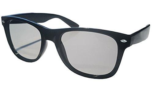 SJ3D Passive 3D Brille – klassischer Style, schwarz – Polfilterbrille zirkular polarisiert - Für RealD 3D Kino & TV: LG Cinema 3D Philips Easy 3D Telefunken Toshiba 3D Natural Vizio 3D und 3DTVs von SONY Grundig Panasonic Hisense CMX uvm. - Inkl. Mikrofaser Brillenbeutel und Putztuch