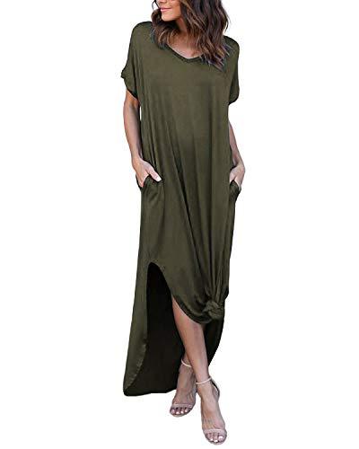 YOINS Robe Femme Manches Longues Robe Maxi Longue Chic Robe de Plage Asymétrique Robe Tunique Bohême Grand Taille, Vert Armée-1, 44(L)