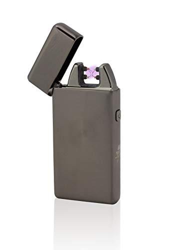 Tesla-Lighter T05   Lichtbogen Feuerzeug, Plasma Double-Arc, elektronisch wiederaufladbar, aufladbar mit Strom per USB, ohne Gas und Benzin, mit Ladekabel, in edler Geschenkverpackung, Schwarz gebürstet