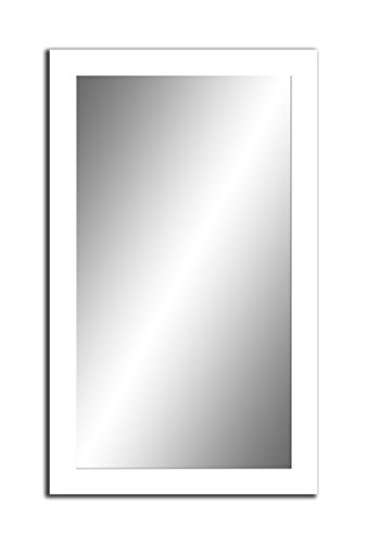 Spiegel MIT Rahmen 32 GRÖßEN 100/50, 50/100cm, 11 Farben Rahmen, Handgefertigte, breiter Fester Rahmen, Stabiler Rückwand, Rahmenleiste: 60x20mm, Rahmen Farbe: Weiß Matt