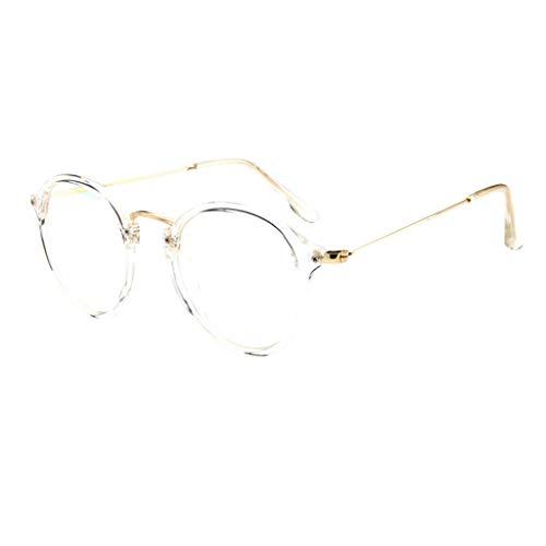 KItipeng Unisex Vintage Brillen Runde Brille Retro Klare Linse Brille Klare Linse Ultraleicht Rahmen Mode Ebenenspiegel