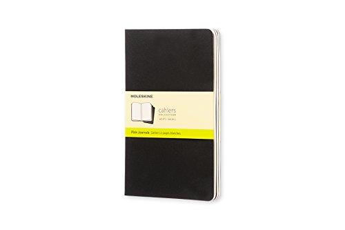Moleskine cahier journal, set 3 quaderni con pagina bianca, copertina in cartoncino e cucitura a vista, colore nero, dimensione large 13 x 21 cm, 80 pagine
