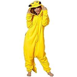 Pikachu Pijama para adultos, hombres, mujeres, mono de pijama naranja de dibujos animados Pikachu para cosplay