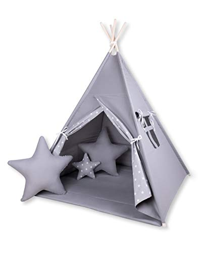 Amilian Tipi Spielzelt Zelt für Kinder T45 (Spielzelt mit Tipidecke/mit 3 x Sternkissen)