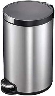 EKO Artistic 30-Liter, Fingerprint Resistant Brushed Stainless Steel Finish, Round Step Waste Bin with Soft Cl