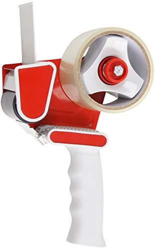 Con:P Klebebandabroller - für Klebebänder bis 50 mm Breite - mit Rollenbremse & Zackenmesser - Inklusive 1 Rolle Paketklebeband - Ergonomisch geformter Griff / Handabroller / Paketbandabroller/B22301