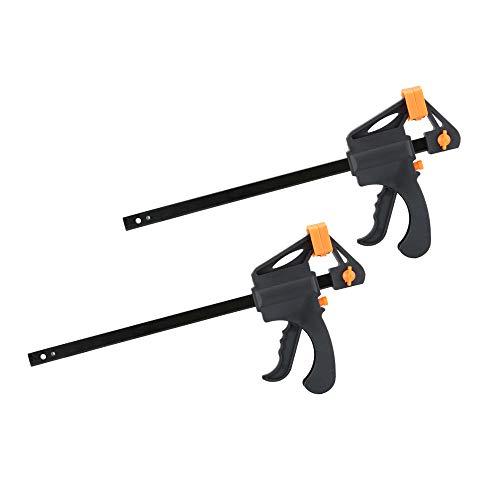 Juego de abrazaderas Nuzamas de plástico de 25 cm, de agarre rápido y liberación de trinquete, kit de herramientas de carpintería, abrazadera de barra ajustable, abrazaderas de acción de apriete