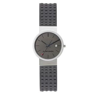 Jacob Jensen 411 – Reloj analógico de Cuarzo Unisex con Correa de Caucho, Color Gris