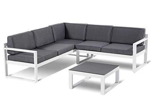 Hartman Perpignan Loungeset in weiß grau inkl. Tisch mit Spraystoneplatte, hochwertiges Aluminium für 5 Personen, 70 x 214 x 79 cm, inkl. Kissen, mit Klappfunktion, 3-Fach verstellbares Seitenteil