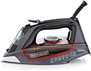 Black+Decker 2200W Steam Iron Ceramic Soleplate with Self Clean, Multicolour - X2050-b5, 2 Year Warranty